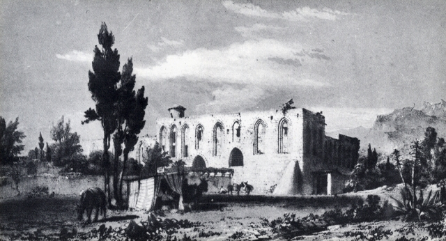 Palermo-Castello di Favara-Maredolce. Stampa ottocentesca.