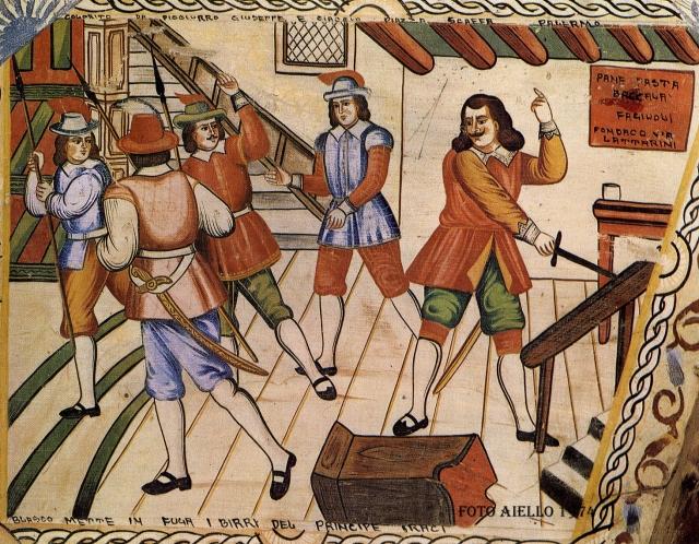 Sponda di carretto colorito da Giuseppe Picciurro,Blasco mette in fuga gli sbirri del principe Geraci