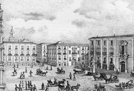 Catania,Piazza della Regia Università-Disegno di Salvatore Zurria