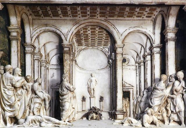 Dal retablo gaginiano-Formella marmorea-Miracolo di Cristo.