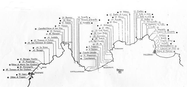 Fascia Costiera che va da Palermo a Trapani con l'indicazione delle Torri di avvistamento(Elaborazione di Salvo Vitale)