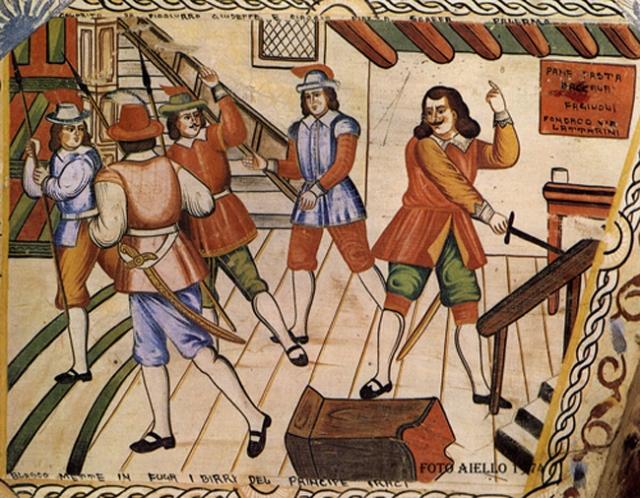 Sponda di carretto colorita da Giuseppe Picciurro.