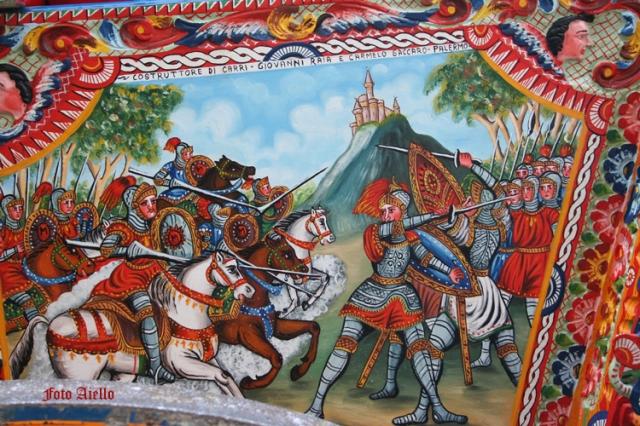 Sponda di carretto colorita da Giovanni Russo di Castelvetrano.(foto Aiello,2007)