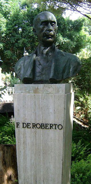 Busto in bronzo di Federico De Roberto,presso la villa Bellini.